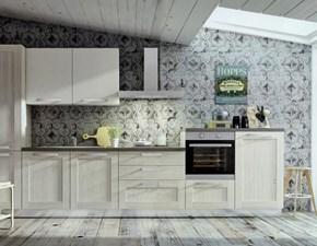 Composizione cucina con abbinamento rovere e canapa