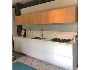 Cucina moderna bianca Arrital cucine lineare Ak_04 in vetro e rovere in offerta