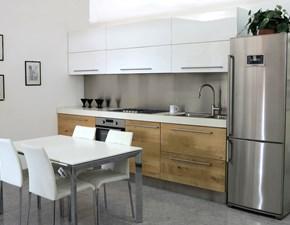 Cucina moderna bianca Artigianale lineare U818 kristal  scontata