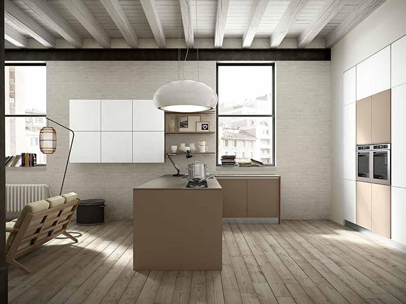 Cucina moderna bianca Essebi cucine ad isola Seta 2 in offerta