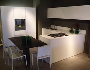 Cucina moderna bianca Modulnova con penisola Light in Offerta Outlet