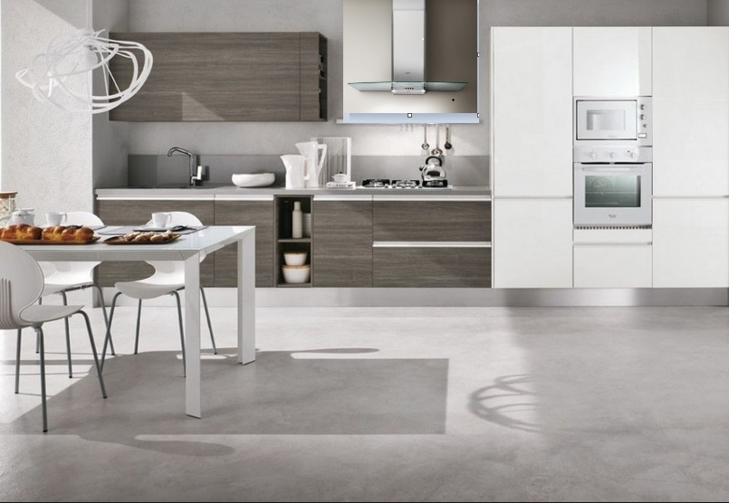 Cucina moderna con dispense e lavello integrato inox sottotop ...