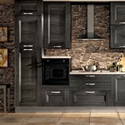 cucina lineare grigia