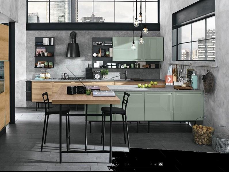 cucina moderna con isola e piano lavoro olmo industrial in offerta