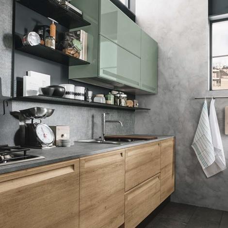 Cucina moderna con isola e piano lavoro olmo industrial in - Piano lavoro cucina ...