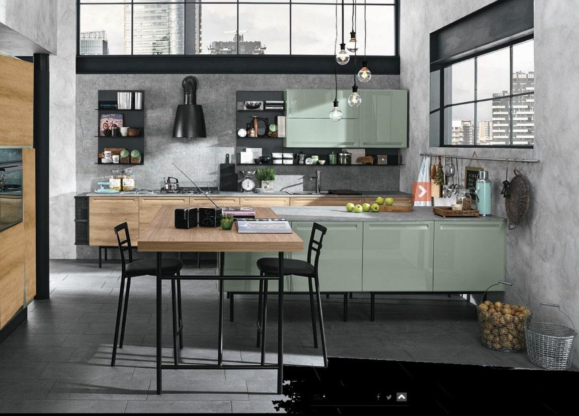 Cucina moderna con isola e piano lavoro olmo industrial in for Isola cucina moderna