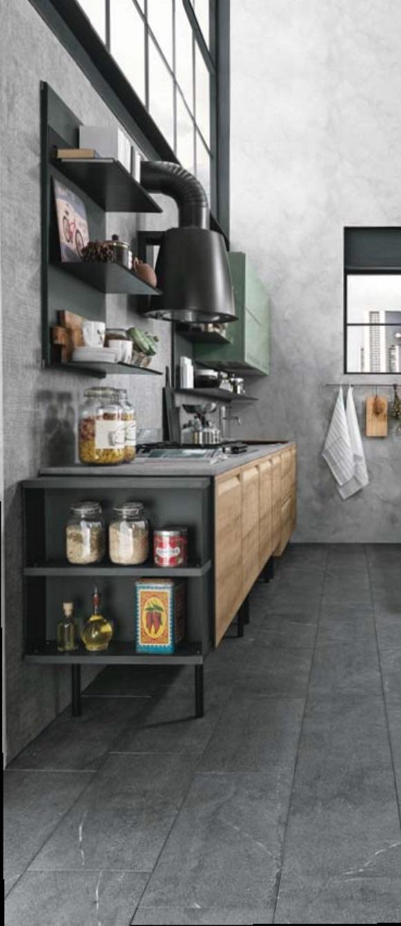 Cucina moderna con isola e piano lavoro olmo industrial in for Piano lavoro cucina
