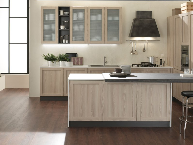 Cucina moderna con isola shabby chic noir in offerta completa outlet - Foto cucine con isola ...