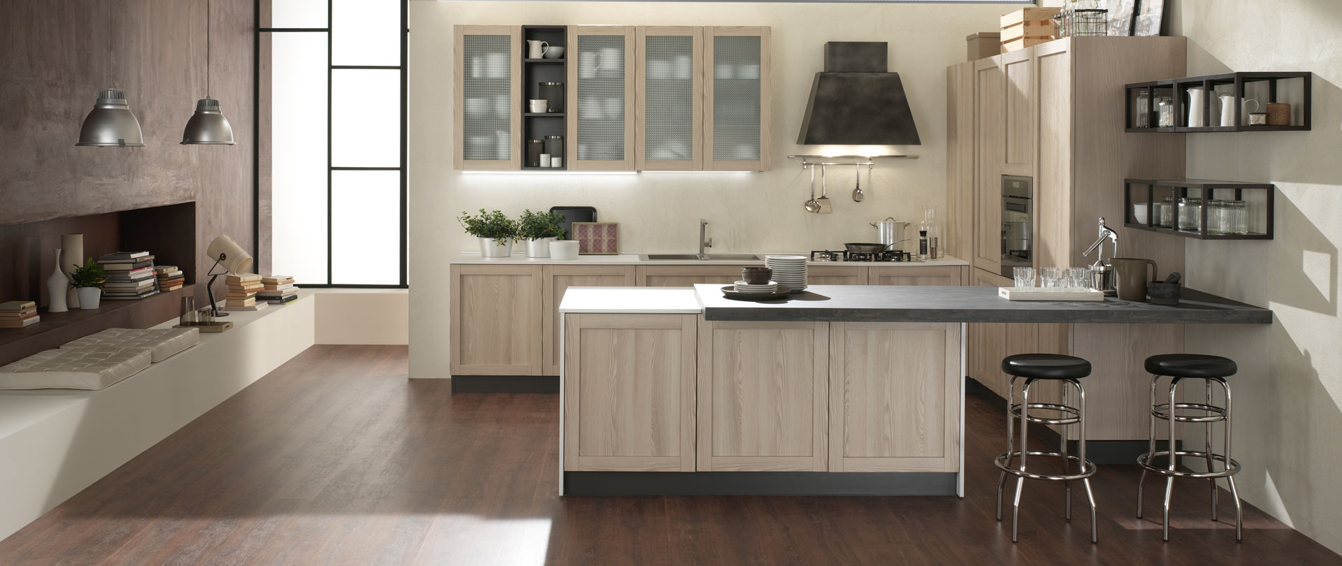 cucina moderna con isola shabby chic noir in offerta completa ...