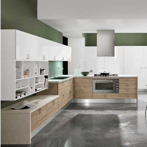 Cucina moderna con penisola essenza rovere in offerta for Cucine di design in offerta