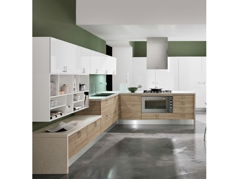 Cucine Moderne In Rovere. Cucina Moderna Su Misura Con Basi In ...