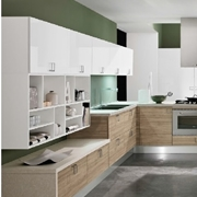 cucina moderna con penisola essenza rovere in offerta outlet