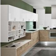 cucina con penisola moderna essenza rovere e white opaco in offerta convenienza