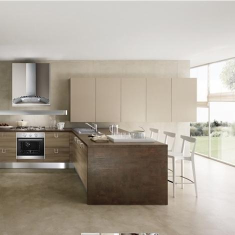 Cucina moderna con penisola etno stone brown in offerta - Cucina completa prezzi ...