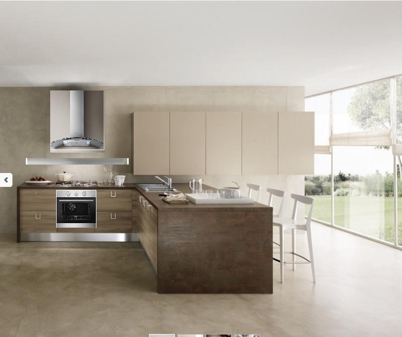 Cucina moderna con penisola etno stone brown in offerta - Cucina moderna penisola ...