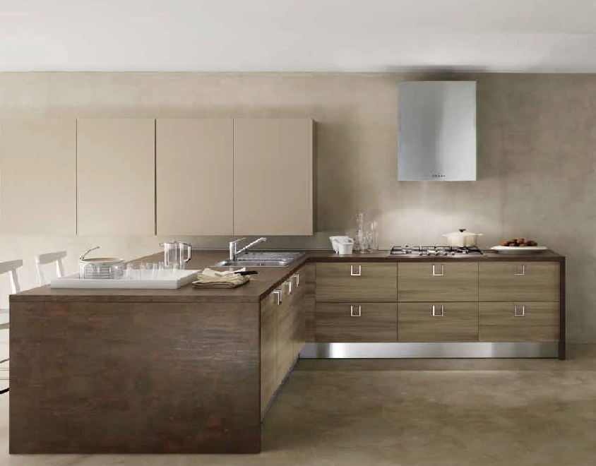 Cucina moderna con penisola etno stone brown in offerta for Cucina completa offerta