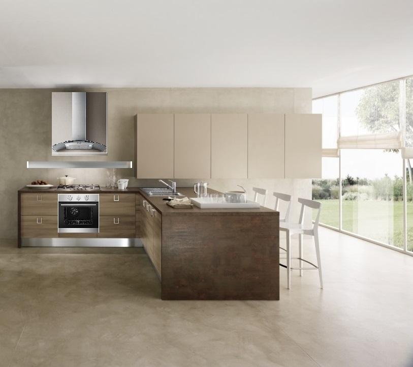 Cucina moderna con penisola etno stone simply in offerta - Penisola cucina moderna ...
