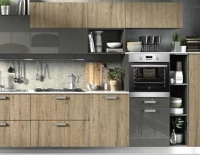 cucina lineare essenza rovere e grigio in offerta nuovimondi  outlet convenienza completa di  elettrodom   hotpoint
