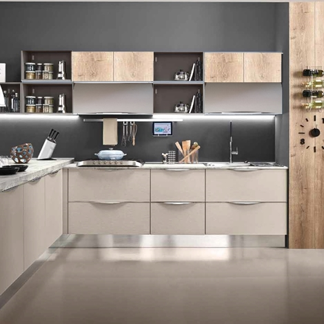 Cucina moderna frassino dorian con penisola cemento dogato - Penisola cucina moderna ...