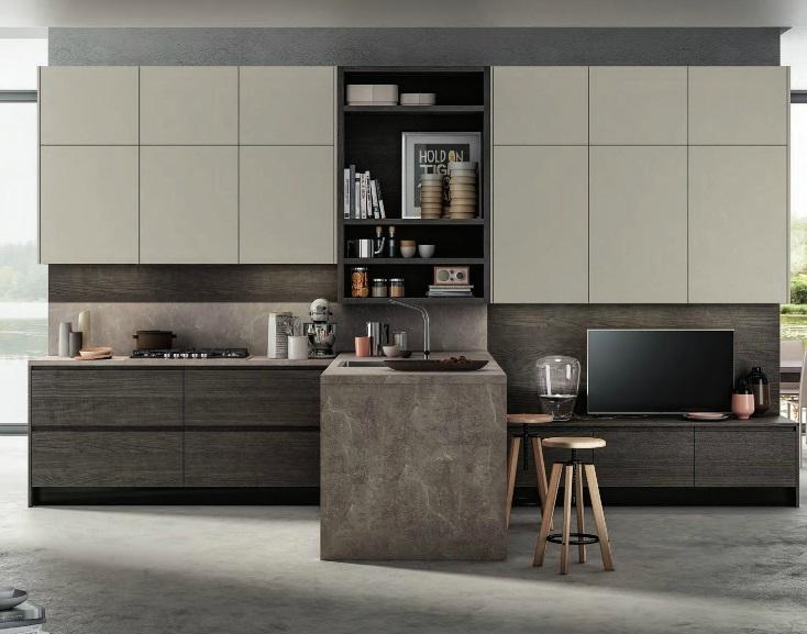 Cucina moderna gola con soggiorno integrato in offerta for Cucine moderne mondo convenienza