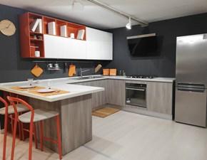 Cucina moderna grigio Cesar cucine con penisola Kora in Offerta Outlet