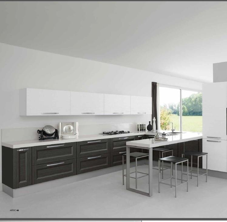 Cucina moderna grigio meridiens con penisola open snack con colonna forno cucine a prezzi scontati - Forno a legna cucina moderna ...