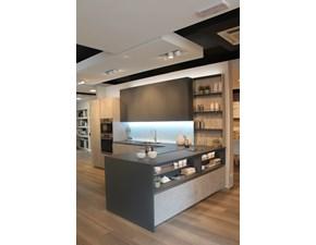 Cucina moderna grigio Veneta cucine con penisola Modello lounge in Offerta Outlet