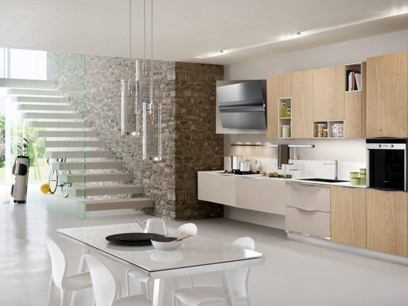 cucina moderna in essenza frassino e rovere in offerta convenienza