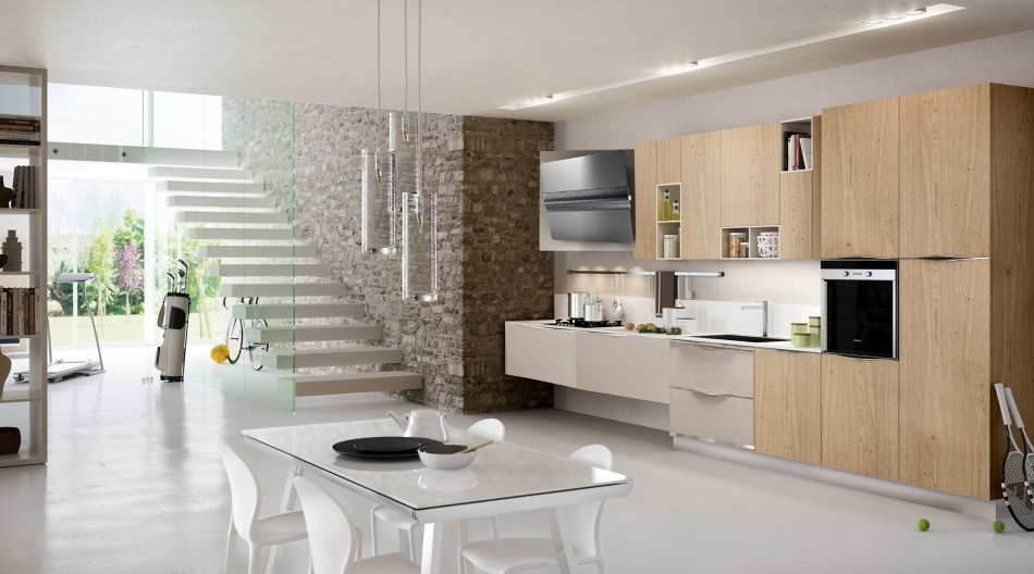 Cucina moderna in essenza frassino e rovere in offerta for Case contemporanee
