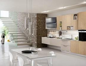 cucina moderna  in essenza frassino e rovere con maniglia satinata