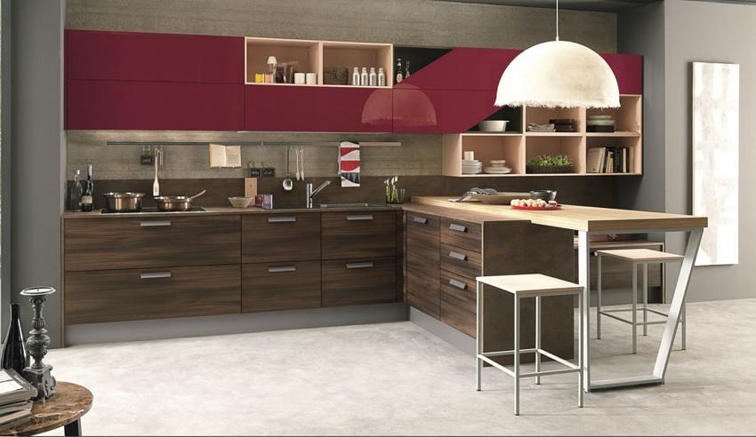 cucina moderna in essenza olmo dark compresa di soggiorno integrato e ...