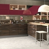cucina moderna in essenza olmodark e laccato red