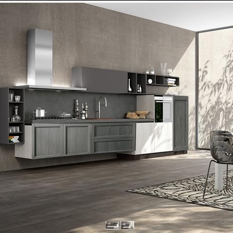 cucina moderna in legno essenza tale mezza sospesa con colonne frigo e ...