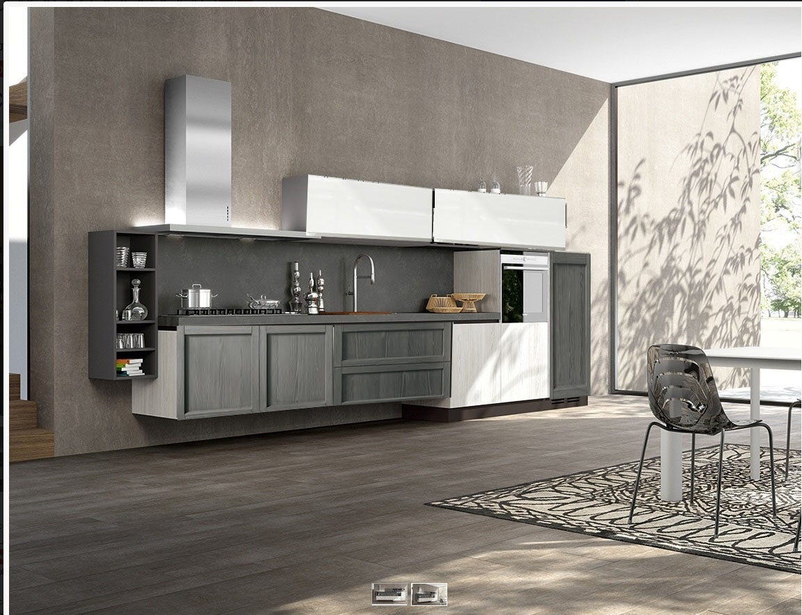 cucina moderna in offerta grigia e white essenza in offerta outlet ...