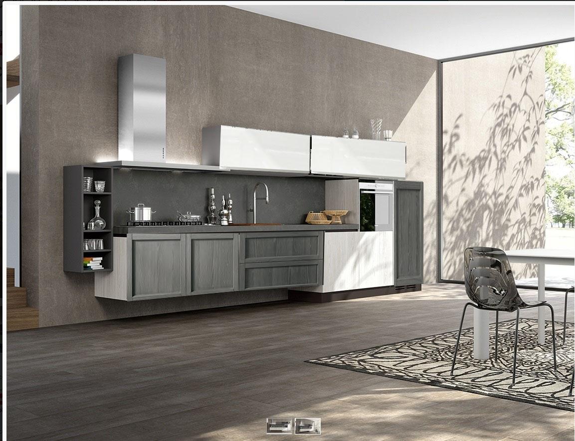 Cucina moderna in offerta grigia e white essenza in for Cucine outlet