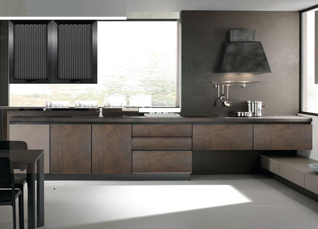Cucina moderna industriale effetto bronzo e grigia in for Design cucina