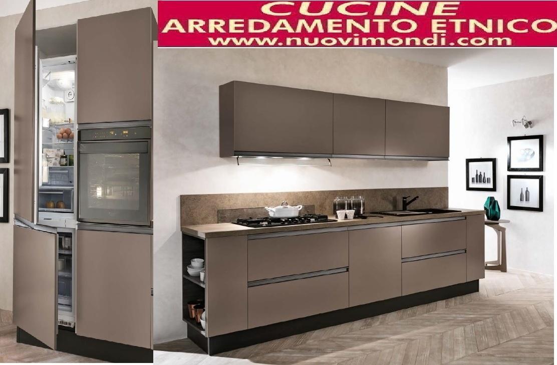 Cucina moderna laccata caffe in gola essenza titanio brown - Cucina lineare 3 metri senza frigo ...