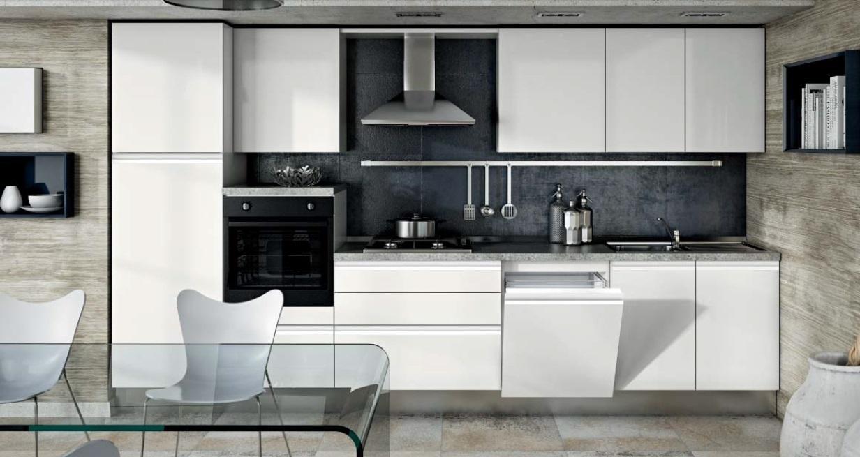 Cucina moderna laccata con gola satinata completa di - Cucina lineare 3 metri senza frigo ...