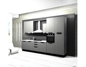 Cucina moderna lineare Aran cucine Cucina componibile mod.marylin in laminato effetto legno scontata del 40% a prezzo ribassato