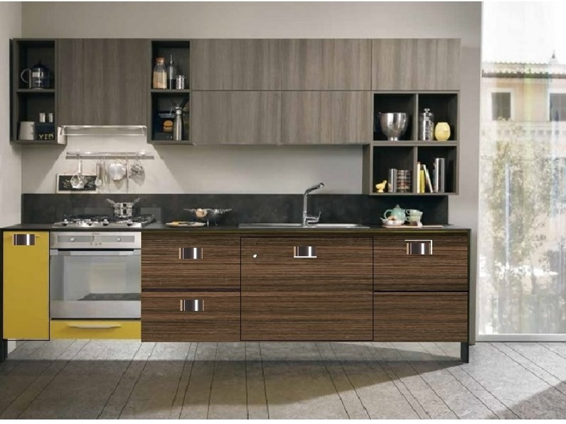 cucina moderna LINEARE INDUSTRIAL essenza grigia NOCE SCURO IN OFFERTA  SUPER CONVENIENTE