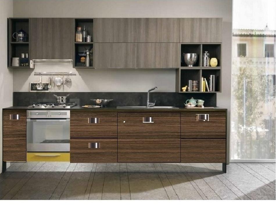 Cucina moderna lineare industrial essenza grigia noce - Cucina bianca e noce ...