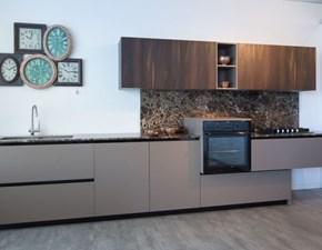 Cucina moderna lineare Materia Doimo cucine, top e alzata in marmo in Offerta Outlet