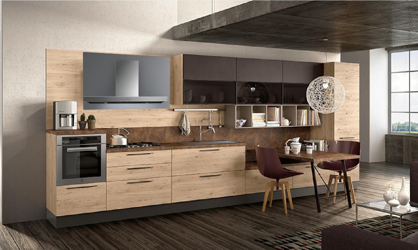 Cucina moderna lineare nature zen easy in offerta completa - Cucina con elettrodomestici ...
