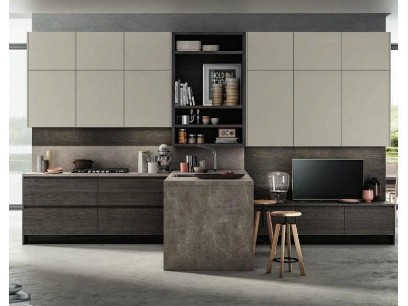 Cucina moderna living con penisola moderna in offerta convenienza - Cucina moderna con penisola ...