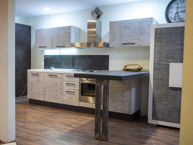 Cucina moderna mody bambu e lagno con penisola industrial integrata grey stone - Cucine in legno naturale ...