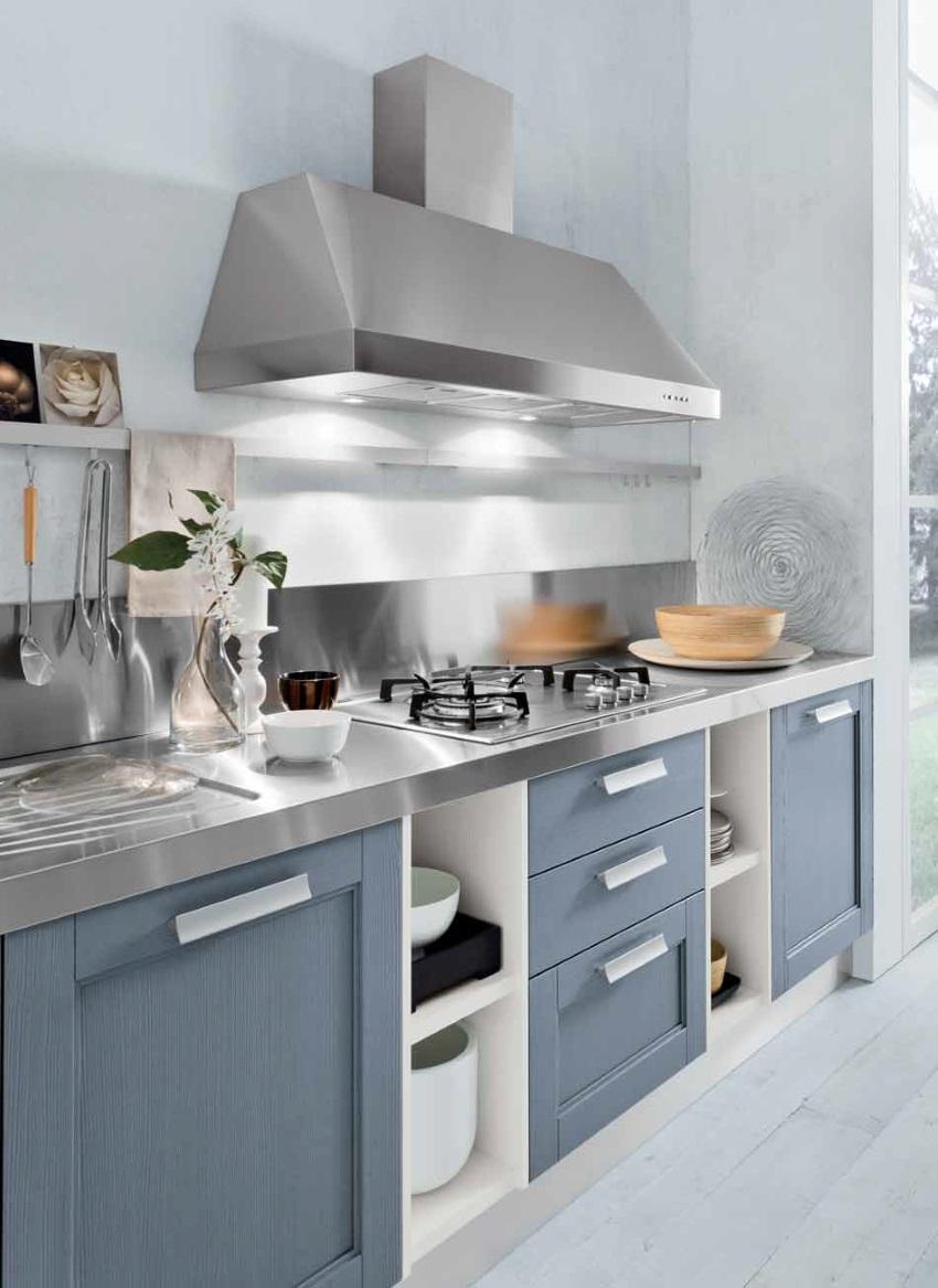 Cucina moderna mody ocean lineare vintage blu con top for Cucina moderna