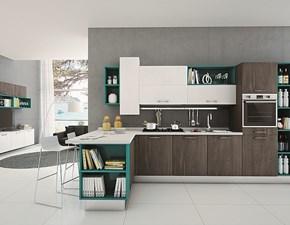 Cucina moderna noce Arredo3 con penisola Cucina componibile mod.kalì di arredo3 scontata del 30% in Offerta Outlet