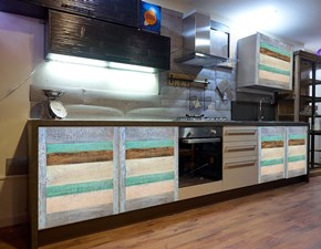 cucina moderna vintage recicle con ante legno  in offerta outlet
