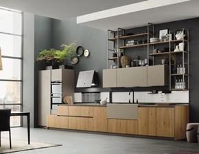 Cucina moderna rovere chiaro Arrex lineare Componibile in Offerta Outlet