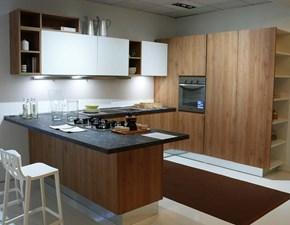 Cucina moderna rovere chiaro Berloni cucine con penisola Brera scontata